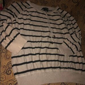 Gray & black striped sweater, women's, Large